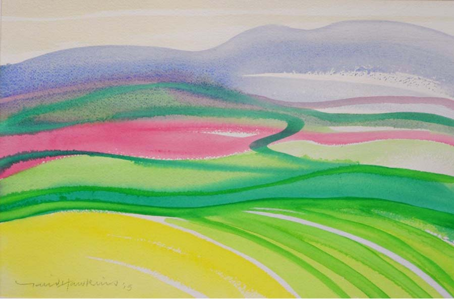 David Hawkins Watercolour - Cheviot Hills